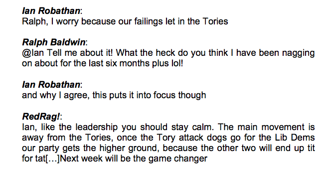 Example 1: In-group deliberation on LabourList (http://www.labourlist.org/the-super-size- election-why-this-campaign-is-w hetting-my-appetit 10/09/10)