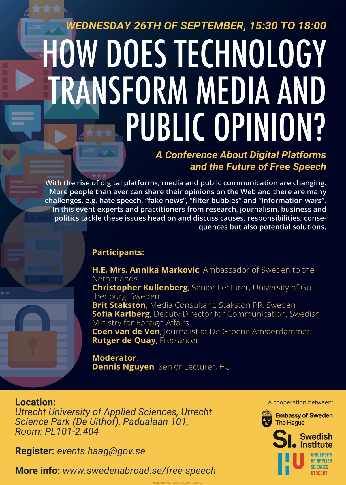 How Does Technology Transform Media and Public Opinion?  A Conference with the Swedish Embassy in Den Haag at the University of Applied Sciences in Utrecht